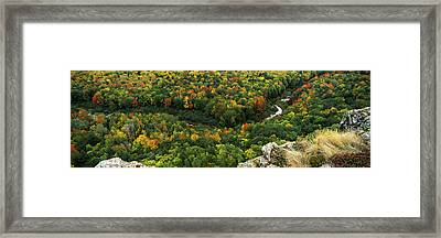 Fall Colors On Mountains Near Lake Framed Print by Panoramic Images