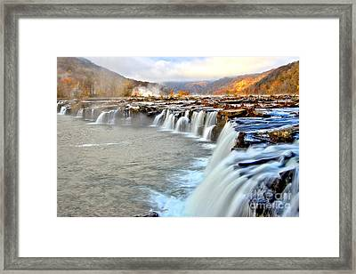 Fall Colors Over Sandstone Falls Framed Print by Adam Jewell