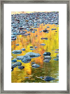 Fall Colors Reflect In The Saco River Framed Print by Jerry and Marcy Monkman