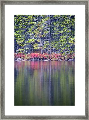Fall Colors Reflecting Off The Water Framed Print by Robbie George