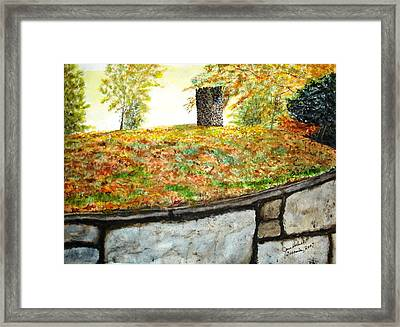 Framed Print featuring the painting Fall Comes To Hastings Tower by June Holwell