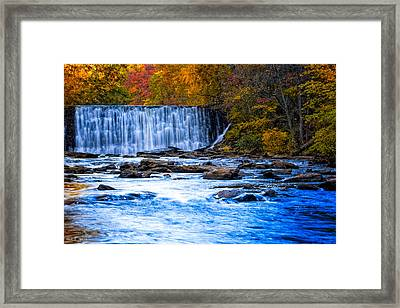Fall Comes To Vickery Creek In Roswell Framed Print