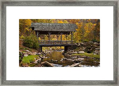 Fall Covered Bridge Framed Print
