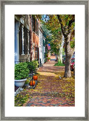 Fall Day In Old Town Alexandria Virginia Framed Print