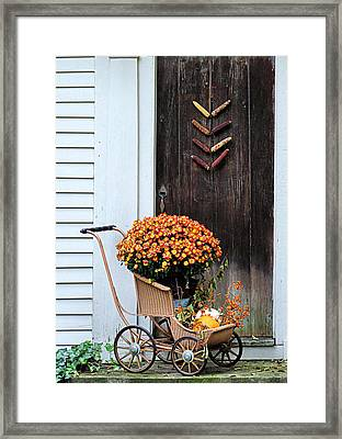 Fall Decorative Front Door Framed Print by Janice Drew