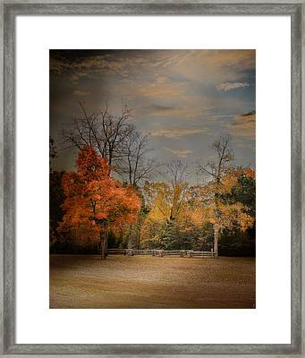 Fall Fenceline - Autumn Landscape Scene Framed Print by Jai Johnson