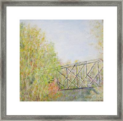 Fall Foliage And Bridge In Nh Framed Print