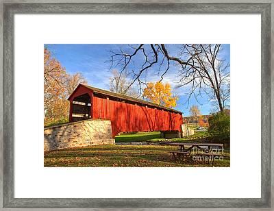 Fall Foliage At The Poole Forge Covered Bridge Framed Print