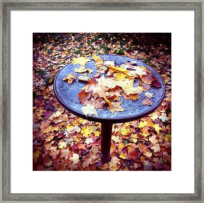Fall Foliage On Table And Ground Framed Print