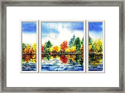 Fall Forest Window View Framed Print by Irina Sztukowski