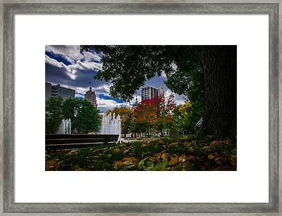 Fall Fort Wayne Skyline Framed Print by Gene Sherrill