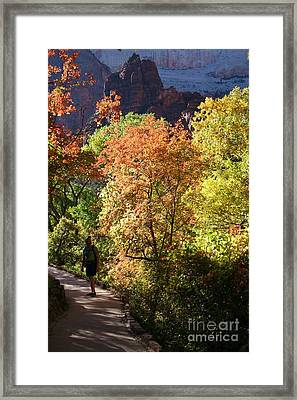 Framed Print featuring the photograph Fall Hiking At Zion National Park by Mary Lou Chmura