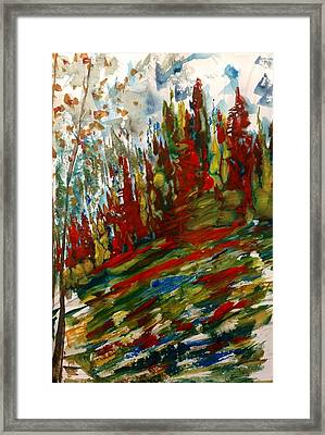 Fall Hillside In Abstract Framed Print