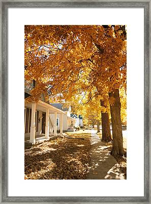 Fall In Small Town Framed Print by Alexey Stiop