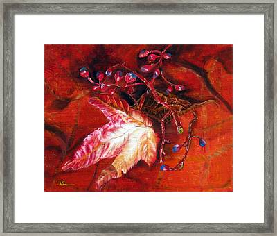 Fall Leaf And Berries Framed Print by LaVonne Hand
