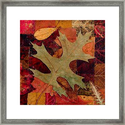 Framed Print featuring the mixed media Fall Leaf Collage by Anna Ruzsan