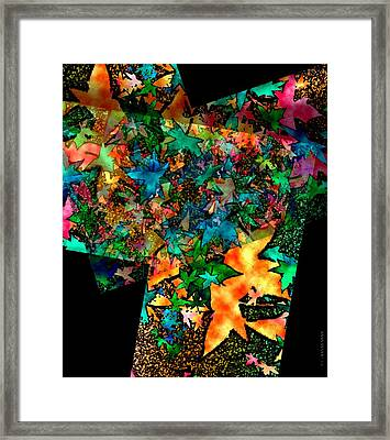 Fall Leaves In Geometric Art Framed Print by Mario Perez