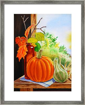 Framed Print featuring the painting Fall Leaves Pumpkin Gourd by Irina Sztukowski