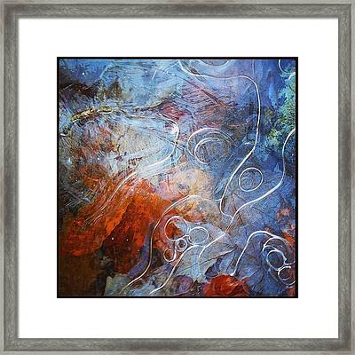 Fall Leaves Under Thin Ice Formations Framed Print by Linda Peers