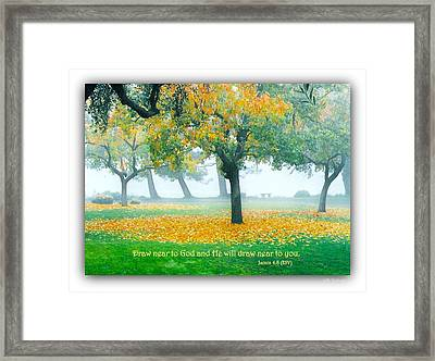Fall Leaves W Scripture Framed Print