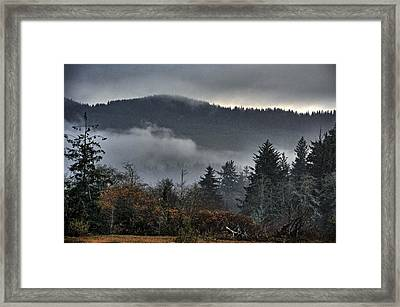 Fall Low Clouds And Fog Framed Print