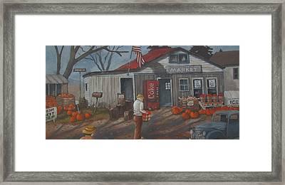Framed Print featuring the painting Fall Market by Tony Caviston