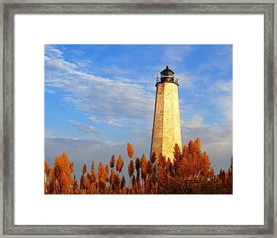 Fall Morning At Lighthouse Point Framed Print by Stephen Melcher