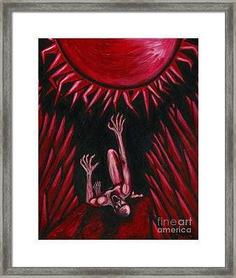 Framed Print featuring the painting Fall Of Icarus by Roz Abellera Art