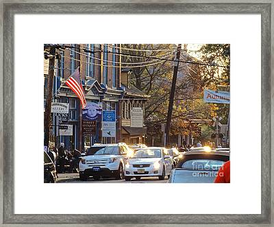 Fall On Bridge Framed Print