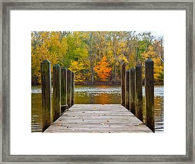 Fall On The Dock Framed Print