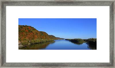 Fall On The Mississippi River  Framed Print by Dina Stillwell