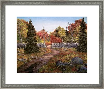 Framed Print featuring the painting Fall Path by Megan Walsh