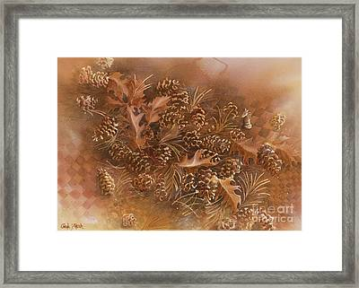 Fall Pinecones Framed Print by Paula Marsh
