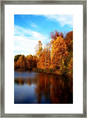 Framed Print featuring the photograph Fall Scene At Hedden Pond With Orton Effect by Eleanor Abramson