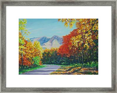 Fall Scene - Mountain Drive Framed Print by John Clark