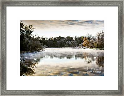 Fall Scene On The Mississippi Framed Print by Cheryl Baxter