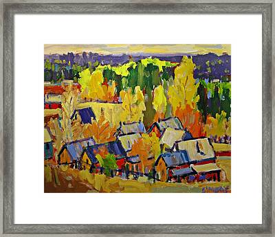 Fall Sheds Framed Print by Brian Simons