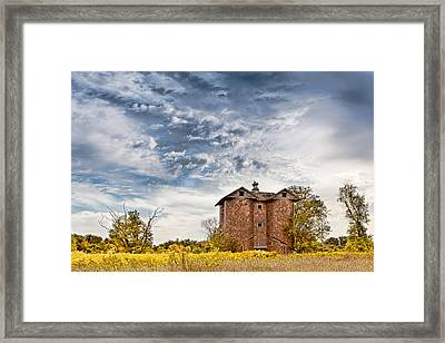 Fall Silo Framed Print by Karen Varnas