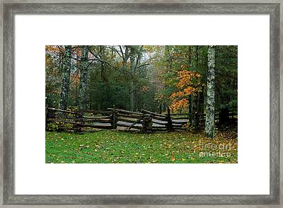 Fall Split Rail Fence Scenic Framed Print
