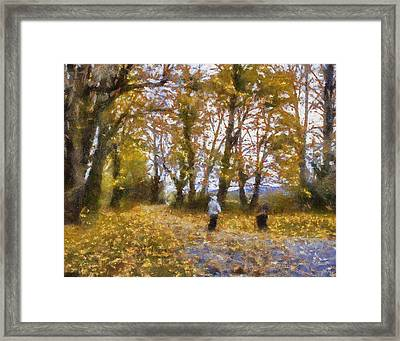 Fall Stroll Framed Print by Barry Jones