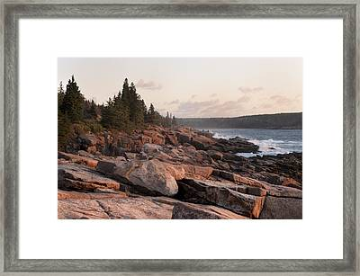 Framed Print featuring the photograph Fall Sunrise In Acadia by Phyllis Peterson