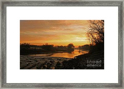 Fall Sunrise On The Red River Framed Print by Steve Augustin