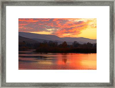 Framed Print featuring the photograph Fall Sunset by Lynn Hopwood