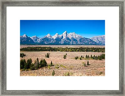 Framed Print featuring the photograph Fall Tetons   by Lars Lentz