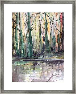 Fall Trees At Night Edge Framed Print by Robin Miller-Bookhout