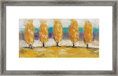 Fall Trees Framed Print by Becky Kim