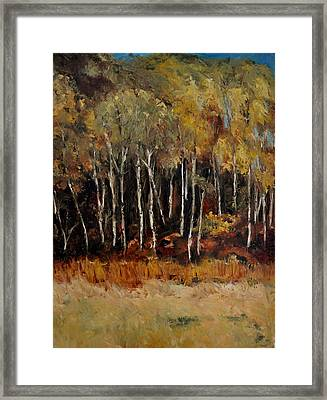 Framed Print featuring the painting Fall Trees Number Two by Lindsay Frost