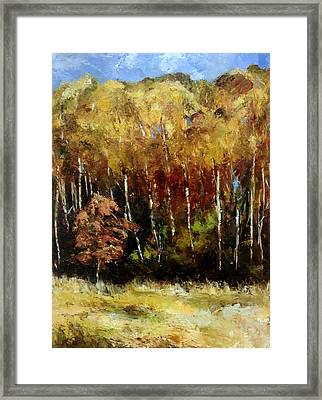 Framed Print featuring the painting Fall Trees Three by Lindsay Frost