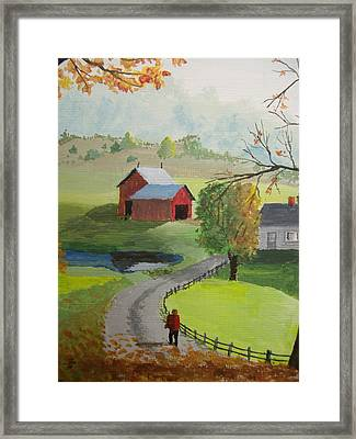 Framed Print featuring the painting Fall Walk by Norm Starks