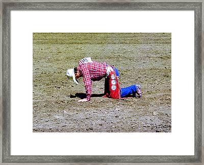 Fallen Bull Rider Framed Print